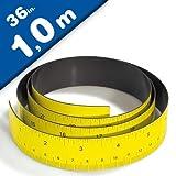 Magnetlineal Magnet Maßband Lineal magnetisch - 1 Meter - 100cm/36 in, gelb - Magnetisches Ausmessen - Flexibles Magnetmaßband - Bandmaß magnetisch