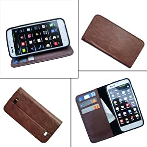 i-KitPit PU Leather Wallet Flip Case For Micromax Bolt A26 (BROWN)