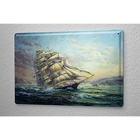 Cartello Targa In Metallo Cucina Nave Arredamento Barca a vela sul lago in tempesta 20X30 cm - Nave Tin