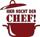 GRAZDesign 620577_50_030 Wandtattoo Küche Hier kocht der Chef | Küchen-Aufkleber und Tattoo für Deine Wände - Schränke - Fliesen - Möbel | selbstklebende Klebefolie (54x50cm//030 dunkelrot)