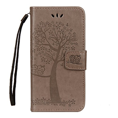 Sony Xperia XZ2 Compact Hülle, Hand Strap Book Style [Magnetic Closure] Flip PU Leder Flip Wallet Cover Etui Book Style Stand Case Card Slot Leder Tasche Case für Sony Xperia XZ2 Compact (Graue Eule) (Tablet-fall Styles Harry)