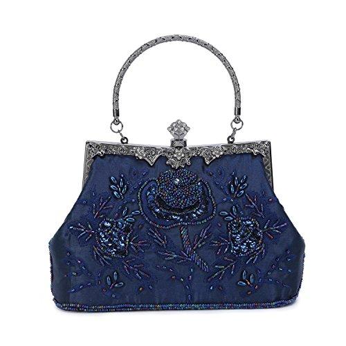 Perlen Bestickte Abendtasche (Tanpell Damen Vintage bestickte Abendtasche mit Perlen, Pailletten Abendtasche Hochzeit Party Geldbörse, Blau (dunkelblau), Medium)
