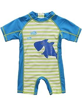 CharmLeaks Baby - Einteiler Kurzarm Badeanzug für Säugling Kinder mit Haifisch Druck und Streifen UV-Schutz 50+