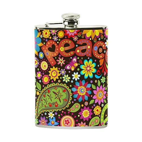 jeansame Personalisierte Hip Drink Fläschchen 8Oz aus Edelstahl für Damen Herren Floral Blumen Hippie Musik Peace Love Floral Musik