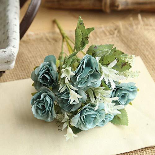 MLLULL MLLULLHochzeitsblumensträuße European Wild Rose Haufen Dekoration Hochzeit Blumen Straße führen Wand @ blau (Führen Wir Wild Rose)