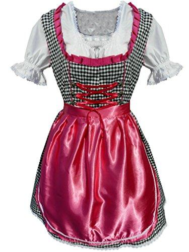 Di16 Mini Dirndl, 3 teiliges Trachtenkleid in schwarz pink kariert, Kleid mit Bluse und Schürze, Gr. 36