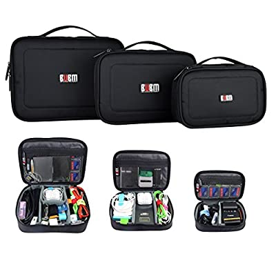 BUBM 3pcs Accessories Carry Bag Electronics Cable Case Travel Cable Bag Computer Gadgets Organiser for Chargers Cables Powerbank Hard Drive with Velcro Cable Ties - low-cost UK light shop.