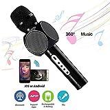 Portable Wireless Karaoke Mikrofon Bluetooth Handheld Mic Spieler mit Dual Speaker für Smartphone PC Tablet (schwarz)