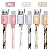 Luvfun [3 Pack] USB Typ C Kabel, 2M Nylon Geflochten USB-C Roségold+Silber+Gold