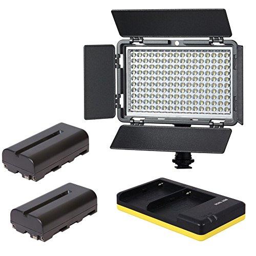 VIBESTA Verata160B Bi-Color Set LED Kopflicht + 2x NP-F550 Akkus + Ladegerät
