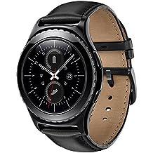 Correas Samsung Gear S2 Classic,Sundaree Ralmente Cuero Reemplazo Banda Pulseras de Repuesto Correa de Reloj Inteligente Smartwatch para Samsung Gear S2 Classic(S2, Negro Cuero)