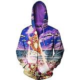 Ai Ya-weiyi Platz UFO Cat Männer 3D-Zip Up Hoodies Tier Terror Katze 3D Drucken Lustige Hoody Sweatshirt Fashion Jacke Mantel