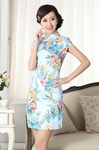 Smile YKK Femme Robe Chinoise Rétro Fleur Coton Bleu