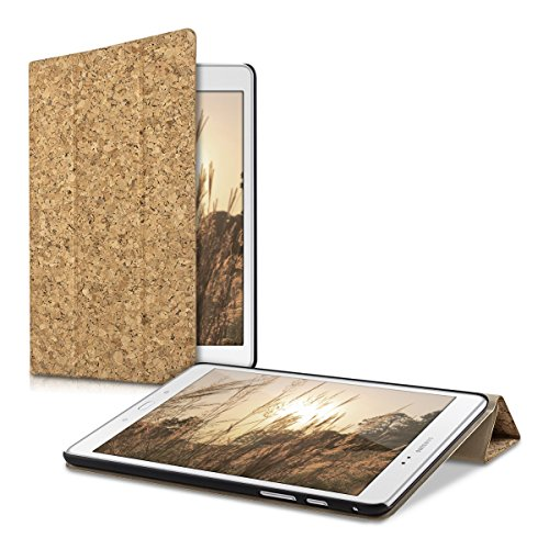 kwmobile Smart cover de corcho para Samsung Galaxy Tab A 9.7 T550N / T555N / P550N en marrón claro con soporte