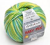 Schoeller und Stahl Wolle Baby Mix Color dk Fb. 105 lime-mix, Babywolle speichelecht, aus Schurwolle und Microfaser