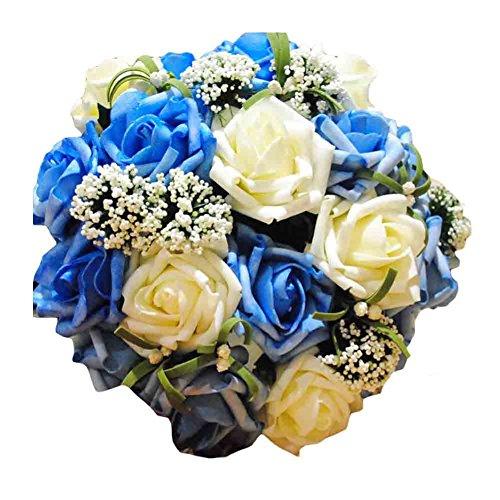 Romantische Hochzeits-Blumenstrauß-Hochzeits-Brautstrauß-künstliche Blume, blaue Rose (Brautstrauß Blau)