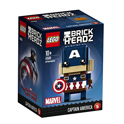 LEGO Brickheadz - Captain America, Construction Toy, Decorative Figure of Marvel Superhero (41589)
