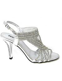 0f6574902d7b55 Womens Ladies Diamante HIGH Heel Prom Shoes Wedding Bridal Evening Sandals  Various Designs Size 3 4