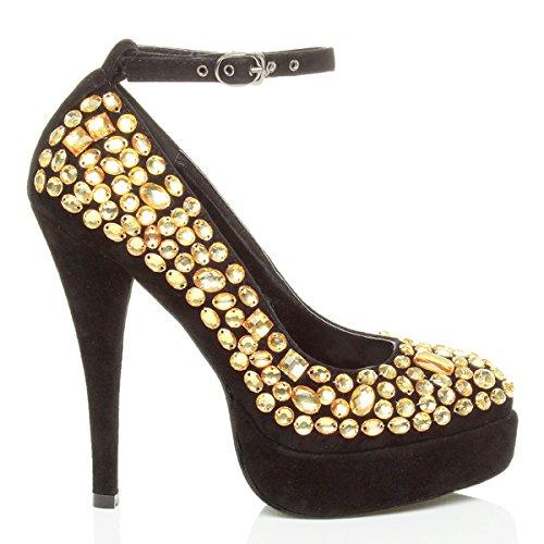 Femme Haut Talon Sangle Strass Gemmes Soirée Plate-forme Chaussures Court Chaussure Taille Noir / Or