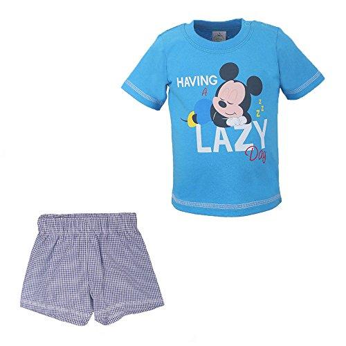 Disney Niños, Infantil, Bebé Mickey Mouse Conjunto, T-Shirt y Pantalones Cortos, Azul