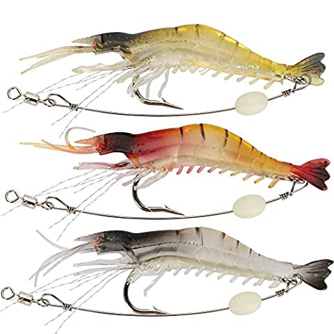 Weiche-Köder-Garnele-Köder-Set Kit Angelköder Köder für Forellen Bass Set Tackle Lachs-Include Vivid Spinner Baits 3PCS&7.5cm