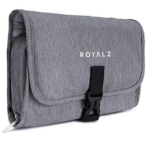 ROYALZ Kulturtasche zum Aufhängen für Damen Herren und Kinder - zum Reisen und Ausflüge als Waschtasche Kosmetiktasche Kulturbeutel - 100% Polyester wasserabweisend, Farbe:Grau