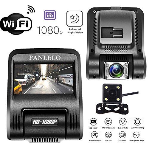Auto Dash Cam, Panlelo D1 Fahrzeug Kamera HD 1080P Auto DVR 170 ° Weitwinkel Auto Video Recorder Starlight Nachtsicht Auto-Reverse System Motor Monitor WiFi Autofahren Recorder Auto Ladegerät mit USB-Anschluss (Landschaft Beleuchtung Vision)