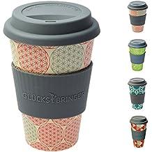 Taza amuleto de café para llevar de ebos hecha de bambú | Taza de café, taza para beber | Biodegradable, reciclabe y respetuoso con el medio ambiente | Seguro para alimentos, apto para lavavajillas (Flor de la vida)