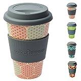 ebos porte-bonheur Coffee-to-Go le gobelet du bambou | Gobelet de trou, gobelet | écologiquement pouvant être démonté, recycle, écologique | véritable d'alimentations, le convenable de machines à laver la vaisselle (Fleur de la vie (rouge))