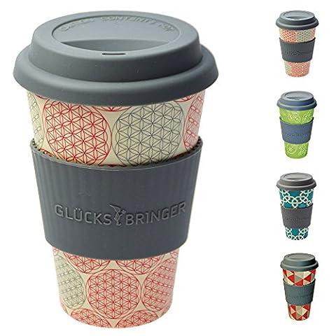 Tasse en bambou coffee-to-go ebos Glücksbringer | tasse à café, tasse à boire | biodégradable, recyclable, respectueuse de l'environnement | qualité alimentaire, adaptée au lave-vaisselle (Fleur de Vie)