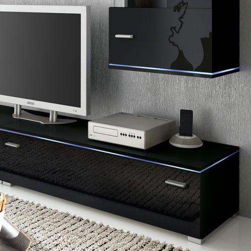 Anbauwand 5-tlg. Hochglanz Schwarz, 2 x TV-Element B: 110 cm, 2 x Hängevitrine B: 50 cm, Glasbodenpaneel B: 100 cm, Mindestb.: 230 cm, Tiefe: 42 cm - 3