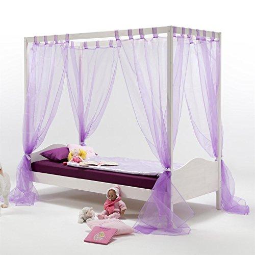Massive Kiefer Himmelbett (IDIMEX Himmelbett Kinderbett Mädchenbett Nadine, 90x200 cm Kiefer massiv weiß lackiert)