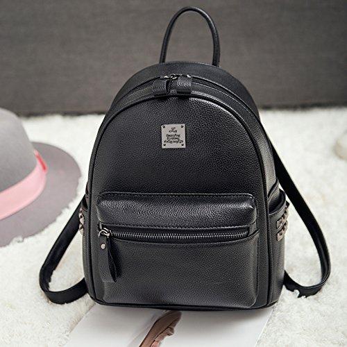LiZhen Double-borse tracolla femmina pu coreano moda singoli wild tempo libero Mini Bundle Ms. nuove ondate di zaino nero Nero