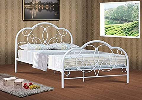 Alexis Classic 4ft6 Double white metal bed frame bedstead with Mattress