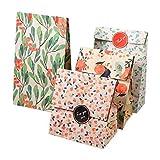 Yosoo 12 Sachets Kraft Sac Cadeau Papier d'Emballage Cookie avec Autocollant en Motif Fleurs de Style coréen pour Mariage Anniversaire 13 x 8 x 23cm (4 Motifs, 3 sachets par Motif)