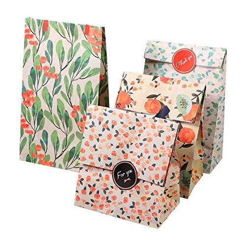 Yosoo 12 Taschen Packpapier Geschenk Beutel Verpackung Cookie mit Mustern Aufkleber koreanischen Stil Blumen für Hochzeitstag 13 x 8 x 23 cm (4 Designs, 3 Beutel pro Motiv)
