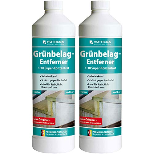 2 x HOTREGA Grünbelag-Entferner 1000ml Flasche