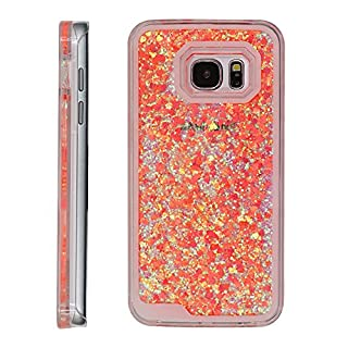 Galaxy S7 glitter case,BLLQ Liquid Quicksand Bling Dazzle Floating moveable Love Heart Hard Crystal PC Case for Samsung Galaxy S7 (glitter Heart Asaka Red)