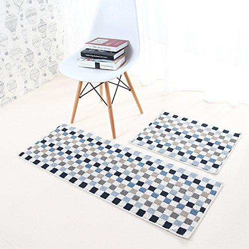 AKTR Küche und 2Stück Rutschfeste Tür Teppichen mit Gummirückseite Küche Läufer Teppich Set, Mosaic Blue, 18'' x 24''+18'' x 47''