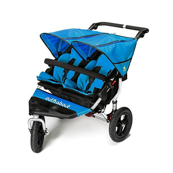 Out 'n' About Nipper Double v4 Stroller Lagoon Blue Out 'n' About LATEST V4 MODEL Twin independant sun canopy's & peek-a-boo window & auto-locking fold NARROW 72cm WIDTH! All-terrain 3-Wheeler pushchair, suitable for use from Birth to 4 years (approx) Independent Multi-position adjustable backrest, including lie flat with 5-Point Safety Harness 1
