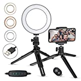 Zacro Ring Light, LED Luce ad Anello for YouTube Video and Makeup, LED Camera Light with Cell Phone Holder Desktop LED Lamp with 3 Light Modes & 10 Luminosità Regolabile
