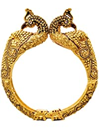 JFL - Traditional Ethnic One Gram Gold Plated Peacock Designer Openable Kada For Women And Girls.