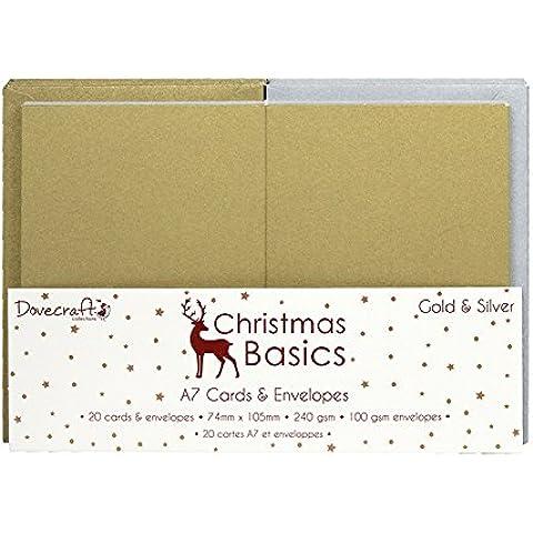 Dovecraft Navidad Basics Mini Tarjetas y sobres, papel, color dorado y plateado