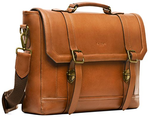 TALENT 'Luther' Aktentasche - Umhängetasche Laptoptasche 15 Zoll Laptop Vintage Design Kalbsleder Cognac -