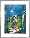 1art1 Marc Chagall Poster Kunstdruck und Kunststoff-Rahmen - Liebende Im Mondschein (50 x 40cm)
