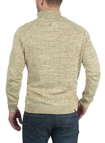 BLEND Danilo Herren Strickpullover Feinstrick Troyer Stehkragen aus reiner Baumwolle Meliert Bone White (70016)