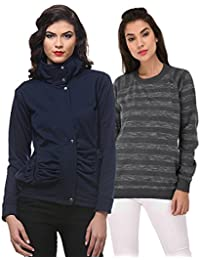 Purys Solid Jacket & Striped Sweatshirt Combo