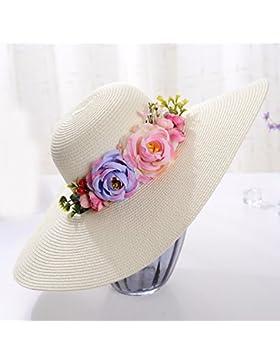 LVLIDAN Sombrero para el sol del verano Dama SolAnti-sol Beachstrawhat milkywhite