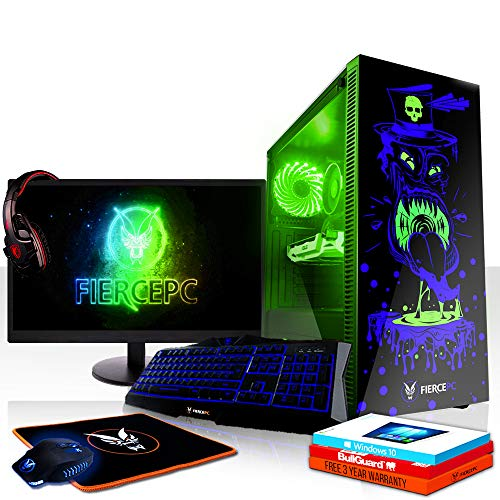 Fierce Maniac RGB Gaming PC Bundeln - Schnell 3.6GHz Quad-Core Intel Core i3 8100, 1TB HDD, 8GB, NVIDIA GeForce RTX 2070 8GB, Windows 10, Tastatur (QWERTZ), Maus, 24-Zoll-Monitor, Headset 1078004