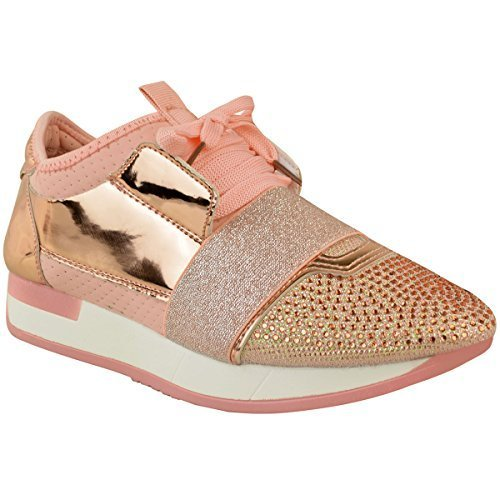 Fashion Thirsty Damen Sneaker mit Glitzersteinen - Pastellrosa Kunstleder -  EUR 37 b34ba527d3